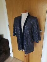 Ladies OASIS Jacket Size S 8 10 Blue/Purple Sequin Party Evening Mermaid