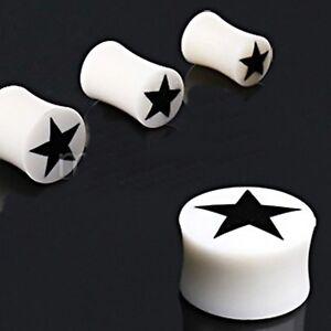"PAIR-Bone w/Black Star Saddle Flare Ear Plugs 16mm/5/8"" Gauge Body Jewelry"