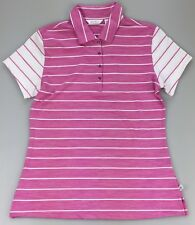 ac371e5ed0c0d Lady Hagen Womens XS Paradise Found Pink Heather White Stripe Golf SS Polo  Shirt