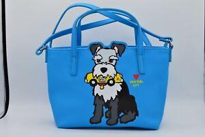 Marc Tetro Graphic Schnauzer Dog Bright Blue Crossbody Bag Purse NYC Taxi Rare