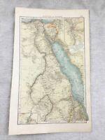 1899 Mappa Antica Di Egitto Cairo Vecchio Originale 19th Secolo Tedesco