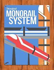 TIN-UPS Tin Sign Disneyland Monorail System Vintage Walt Disney Ride Art Poster