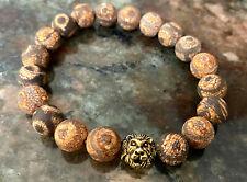 "Handmade Mens 10mm Matte Tibetan Mystical Agate & Lion's Head Bead 8"" Bracelet"