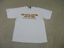 VINTAGE Gold's Gym Shirt Adult Large White Yellow Logo Gym Athletic Men 90s A76*