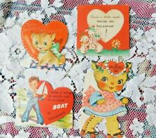 Four Vintage 1940'S Valentines Kittens Puppies Sailor