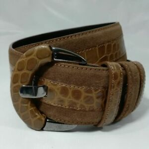 Carlisle Brown Suede Leather Belt Size S Reptile Embossed Wide Alligator Silver