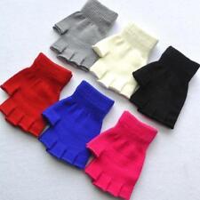 Kids Boys Girls Junior Plain Stretchy Magic Gloves Fingerless Winter Warm AS