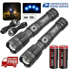 Powerful Zoomable 5 Modes XHP50 LED 18650 USB Rechargeable Flashlight Torch Lamp