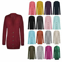 Ladies Womens Chunky Cable Knitted Long Sleeves Button Grandad Knitwear Cardigan