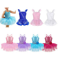 Kid Girl Ballet Dance Dress Gym Leotard Dancewear Sparkly Sequins Tutu Costumes