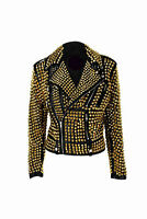 New Brando Woman black & Gold Full Silver Studded Cowhide Leather Jacket