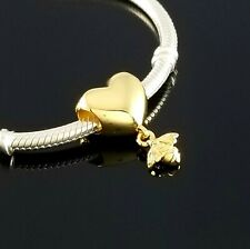 New! Authentic Pandora Shine Collection Gold Heart & Bee Charm Dangle