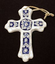 Pottery Cross Handcrafted White Blue Floral Vintage Item 5.5 Inches Tall