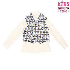 Rrp €230 Colorichiari Shirt & Waistcoat Set Size 8Y Pocket Square Made in Italy
