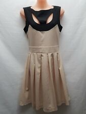 BOO HOO TWENTY SEVEN FASHIONS BLACK/BEIGE SMART PARTY WEDDING DRESS SIZE S