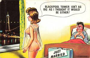 Rude Risque Bamforth Postcard Honeymoon Blackpool Tower Sex Vintage #2660 Funny.