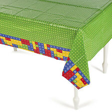 Brick Party Plastic Tablecover Tablecloth Birthday Color Building Block Design