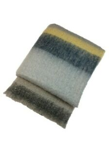 John HanlyTonal Grey & Yellow Mohair & Wool Blended Throw - Woven in Ireland