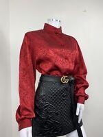 True Vintage Top UK 14 Red Blouse Marble Pattern Shirt Shiny 1990s Sixth Sense