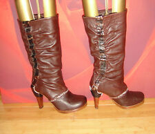 *61* Superb  HARLOT Brown  leather  platform slouch boots EU 37 UK 4