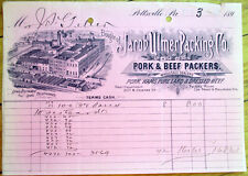 Meat/Pork & Beef Packers 1897 Letterhead: Jacob Ulmer Packing Co.-Pottsville, PA