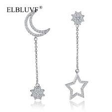 ELBLUVF Copper Alloy Sun Star and Moon Pendant Earrings Zircon Jewelry For Women