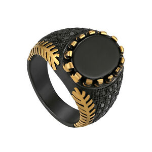 Vintage Antique Black Agate Band Ring Anniversary Valentine's Day Gift For Men