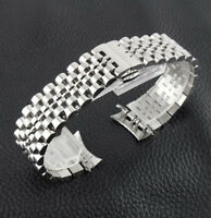 Curved Stainless Steel Bracelet Butterfly Clasp Replacement Watch Band Strap
