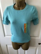 Brand New Primark Atmosphere Turquoise Blue Short Sleeve Jumper Size 8 - 10