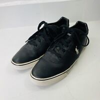 Polo Ralph Lauren Mens Casual Sneakers Hanford Black Leather Size 10.5 D Shoes
