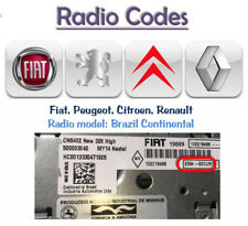 Radio Unlock Code Service for Brasil Continental radio from Fiat,Peugeot,Renault