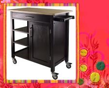 Kitchen Cart Trolley Espresso Wooden Cabinet Solid Wood Benchtop SKT813