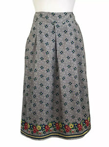 Seasalt Prussia Cove Midi Skirt Grey UK10 Cotton Pockets Lined Confetti Flowers