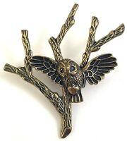 OWL BROOCH LANDING ON TREE BRANCH FIGURAL BIRD JEWELRY BRASS TONE METAL