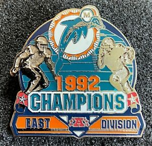 MIAMI DOLPHINS ~ 1992 AFC EAST DIVISION NFL CHAMPIONS LAPEL PIN Willabee & Ward