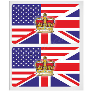 "2X100mm 4"" Crown United States UK Union Jack double flag Laminated Decal Sticker"
