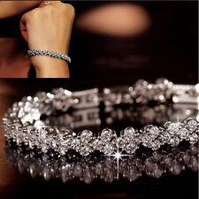 Women Pretty Silver Plated Chain Clear Zircon Rhinestone Crystal Bracelet Bangle
