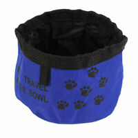 Cat Dog Paw Pattern Foldable Portable Feeder Bowl Water Dish Blue Black 15cm Dia