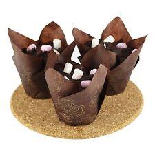 200 X estuches de tulipán Mollete Magdalena Envolturas Envolturas Marrón Chocolate Papel de la hornada