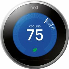 Google - Nest Learning Thermostat - 3rd Generation - Stainless Steel - T3007ES