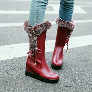 Women Knee High Boots Fur Lined Trim Wedge Heel Snow Warm Pull on Shoes 8