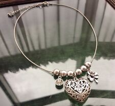 Vintage Style Silver Tone Filigree Heart Ball Bead Charms Necklace