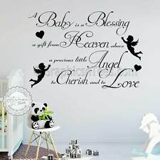 A Baby Is A Blessing Nursery Wall Sticker Boy Girls Bedroom Wall Quote Decor