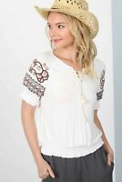 Boho Embroidered Floral Off-White Peasant Top Blouse Tunic Bubble Shirt S Small