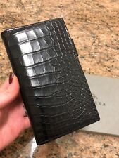 Ghurka Matte Black Genuine Alligator Agenda/Calendar