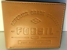 Fossil Men's Bifold Wallet Tan Embossed Leather Lee Flip ID ML 4065231 NWT