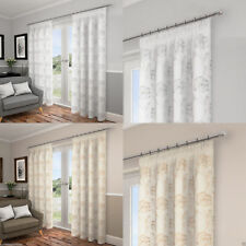 """Lotus Leaf/Floral Lined Ready Made Voile 3"""" Tape Top Pencil Pleat Curtains Pair"""
