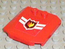 LEGO Red Wedge 4x4 x 2/3 Fire Logo Ref 45677 45677pb001 Set 7945 7208 7942