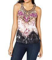 INC Womens Tops Purple Size Large L Knit Embellished Keyhole Halter $64 284