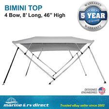 "New Bimini Top Boat Cover 4 Bow 46"" H 79"" - 84"" W Gray 8 Foot Long Gray"
